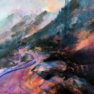 """Misty Mountains/Montagnes Mystérieuses, 24x24"""", acrylic on canvas/acrylique sur toile,collection privée"""
